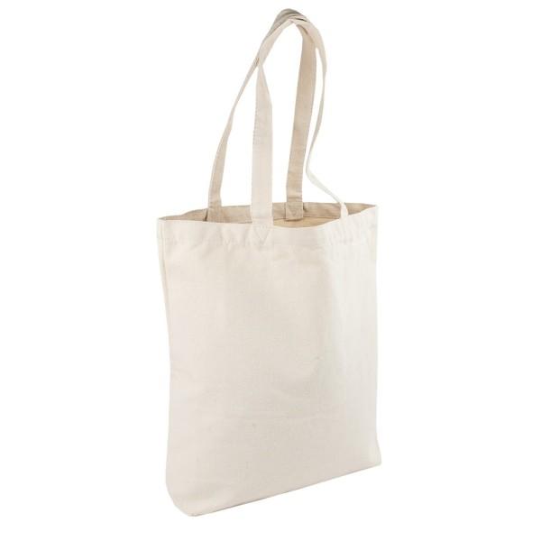 Textil-Tasche mit Reißverschluss-Fach, 38cm x 37cm x 10cm, mit 2 Langhenkeln, natur