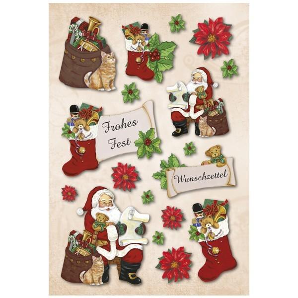 3-D Stickerbogen, Weihnachten/Frohes Fest, 12,5 x 18,5 cm