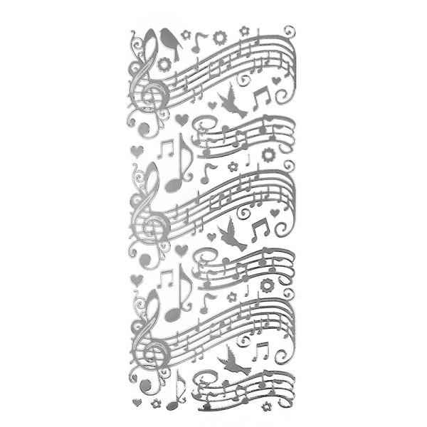 Sticker, Noten/Musik, Spiegelfolie, silber