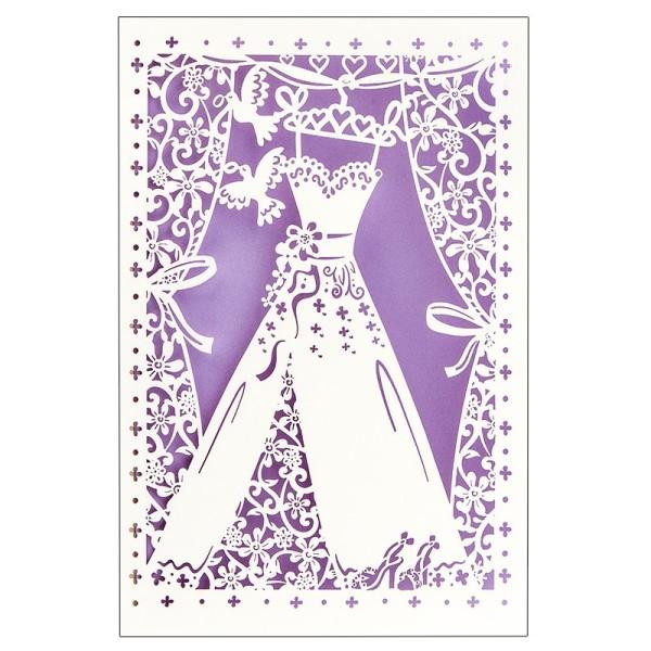 """Laser-Grußkarte """"Hochzeit 4"""", 12x18cm, mit Umschlag & fliederfarbenem Einleger"""