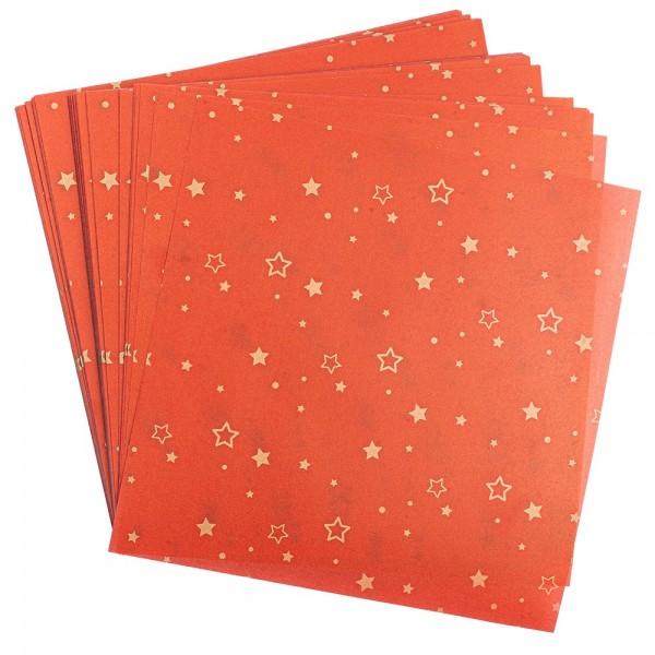 Faltpapiere, transparent, Sterne, 15cm x 15cm, 110 g/m², rot/gold, 100 Stück