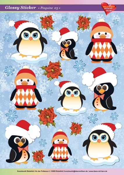 Ultra Gloss Stickerbogen, Pinguine 3