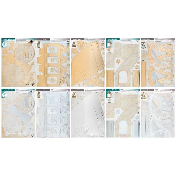 Stanzbogen, DIN A4, 300 g/m², 5 versch. Bogen, Folienveredelung Gold & Silber, 10 Bogen