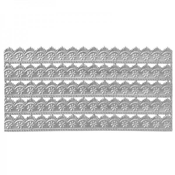 Wachs-Bordüren auf Platte, Spitze, geprägt, silber, 20cm, 5 Stück