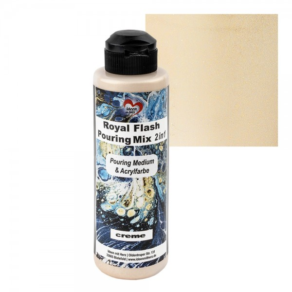 Royal Flash Pouring Mix, 2 in 1, Pouring Medium & Acrylfarbe, creme, 180ml
