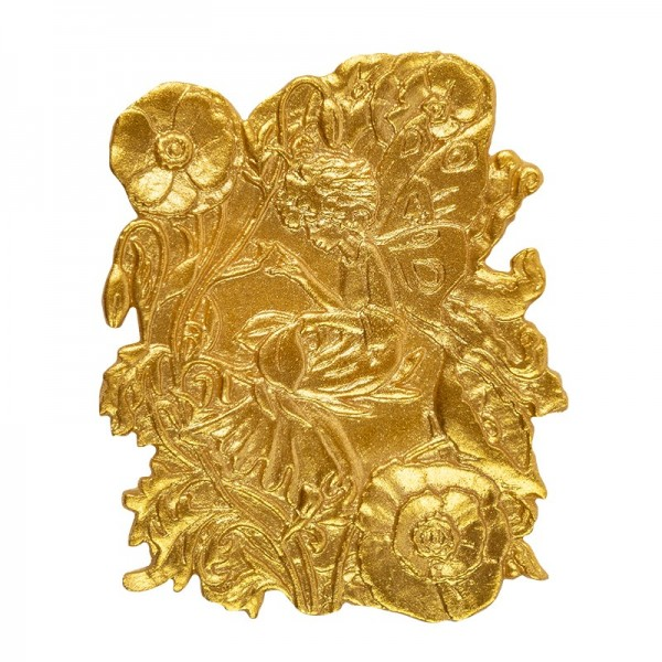 Wachsornament Elfe, sitzend, 8 x 6 cm, gold