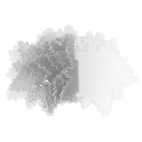 Windradfolien-Scheiben, Eiskristall 1, 16cm x 15,5cm, transparent, 500µ, 20 Stück