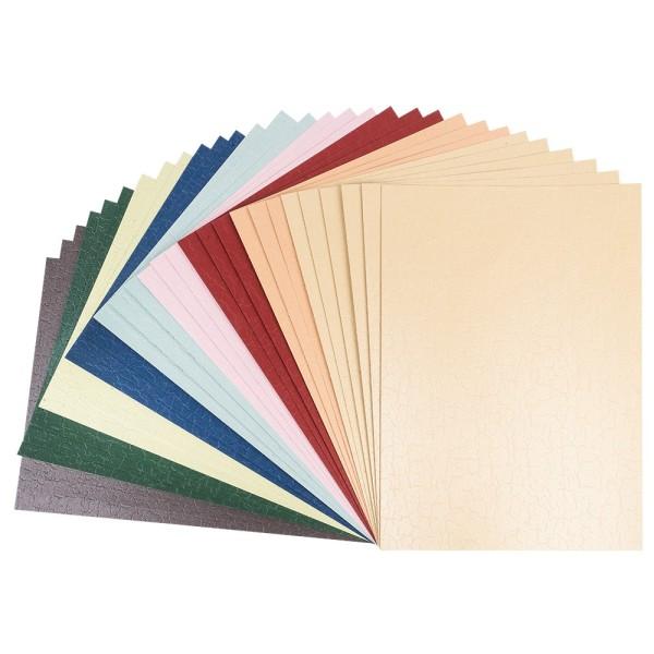Deko-Karton, Krakelieroptik, Perlmutt, DIN A4, 240 g/m², versch. Farben, 30 Bogen