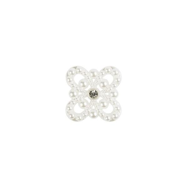 Premium Schmucksteine, Perlen-Ornament 1, Ø 3,4 cm, mit Glas-Kristallen, perlmutt, 50 Stück