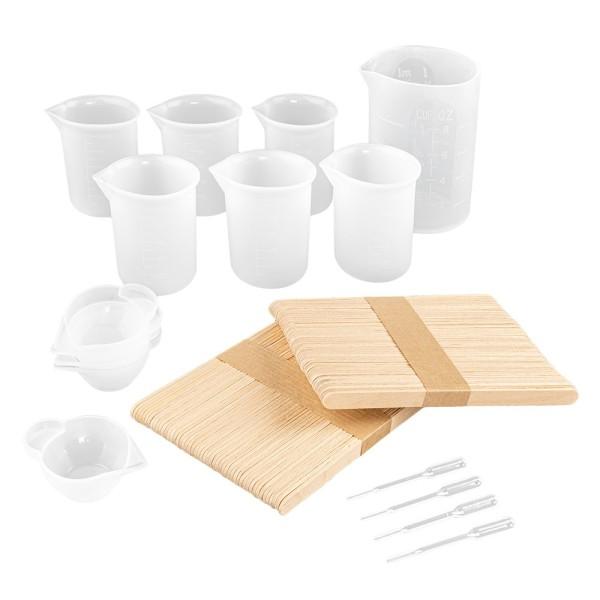 Silikon-Messbecher, antihaft, verschiedene Größen, inkl. Pipetten & Holz-Rührstäben, 116-teilig