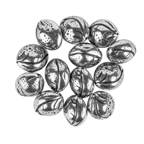 Perlen, Oval, metallic, 2cm x 1,8cm x 1,4cm, silber-schwarz, 12 Stück