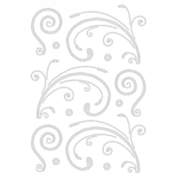 Bügelstrass-Design, DIN A4, klar, Ornamente 3