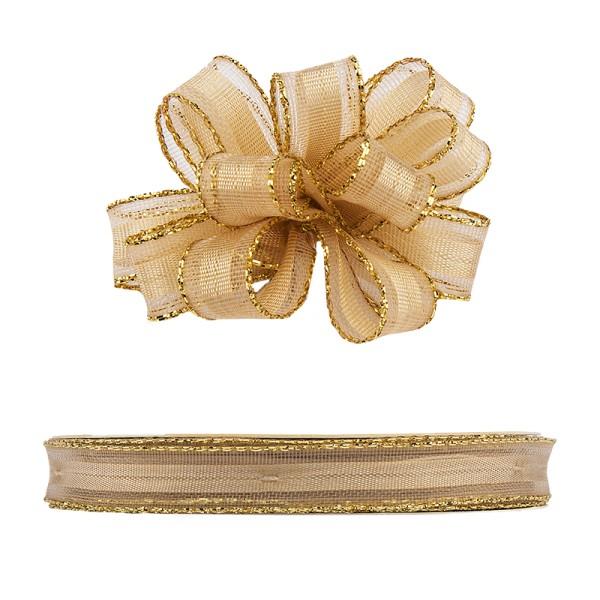 Ziehrüschen-Band, Organza mit Goldkante, 1cm breit, 10m lang, beige