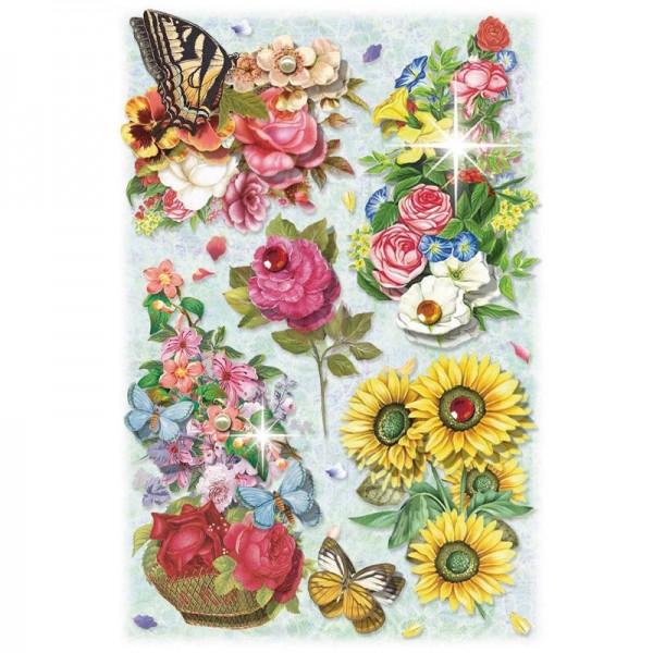 3-D Stickerbogen, Blumen auf Blau 4, 12,7 x 18,8 cm