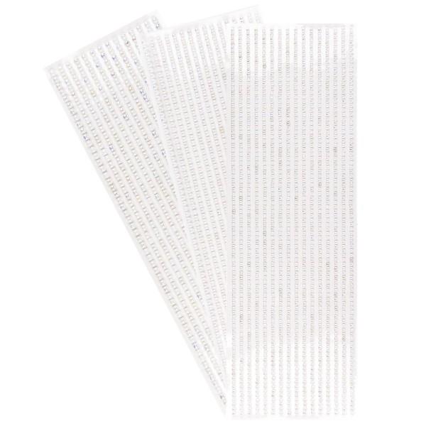 Halbperlen-Bordüren, rund: Ø 3mm, Ø 4mm, Ø 5mm, selbstklebend, weiß-irisierend, 3 Bogen