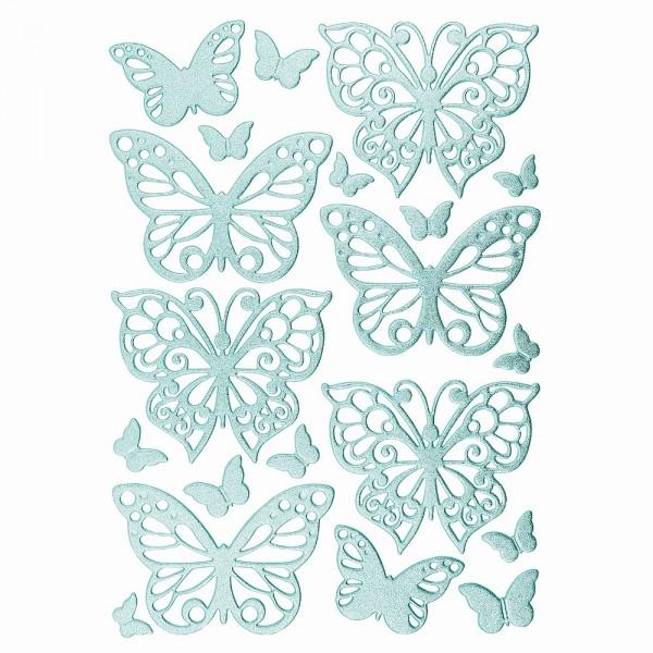 3-D Sticker, Deluxe Schmetterlinge, selbstklebend, hellblau