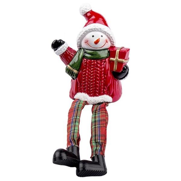 Schneemann mit Schlenkerbeinen & Geschenk, 18cm hoch, Kantenhocker