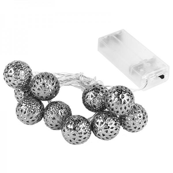 """LED-Lichterkette """"Silber-Ball"""", warmweiß, 10er"""