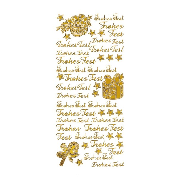 Sticker, Frohes Fest, gold