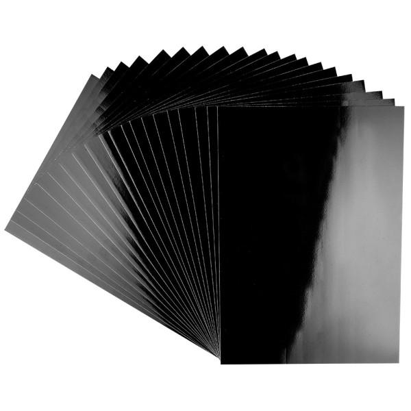 Glossy-Karton, DIN A4, 200 g/m², schwarz, selbstklebend, 20 Bogen