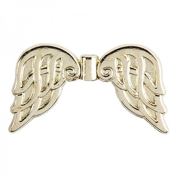 Engelsflügel, Design 6, 3,7cm, hellgold, 10 Stück