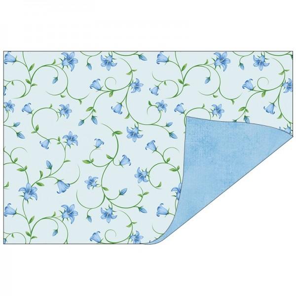 Faltpapiere, Duo-Design 43, 10cm x 15cm, Blütenranken/blau, 50 Stück
