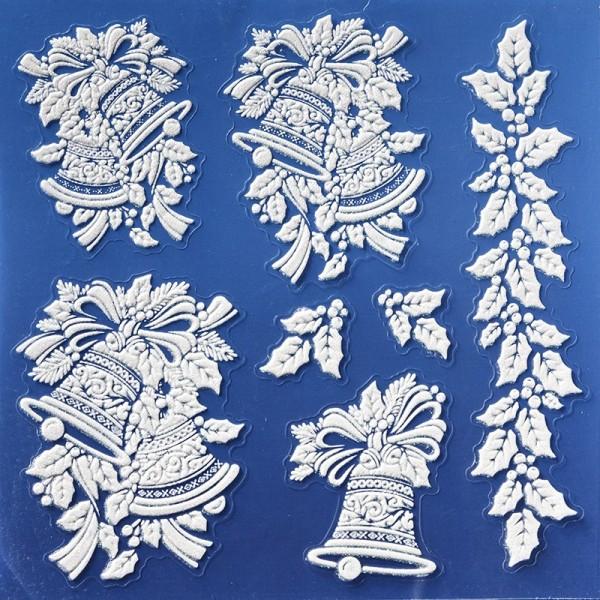 Laserglimmer-Sticker, Weihnachtsglocken, 18x18 cm, weiß