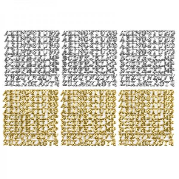 Wachsornamente, Großbuchstaben, 6 Stück, silber & gold