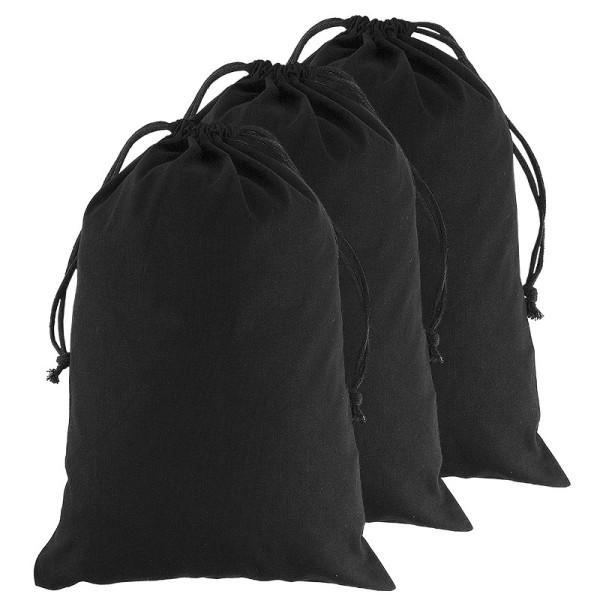 Baumwoll-Zuziehbeutel, 30x45cm, schwarz, 3 Stück
