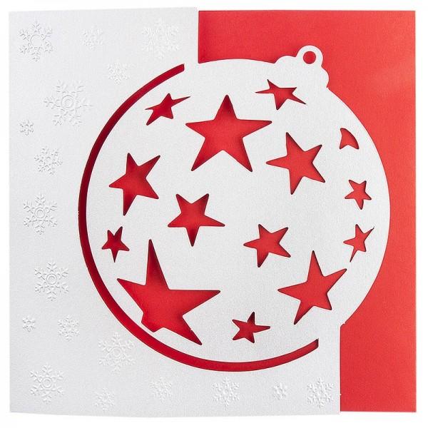 """Deluxe-Grußkarten """"Weihnachtskugel 1"""", 16cm x 16cm, 10 Stück, inkl. Einleger & Umschläge"""