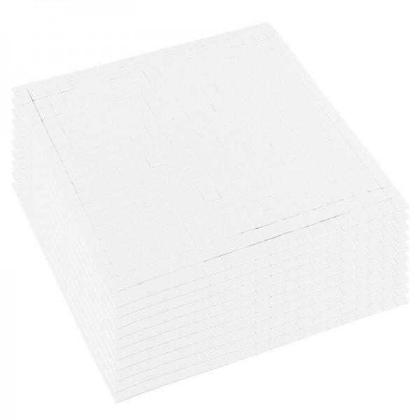 Klebepads, 5mm x 5mm, 1mm hoch, weiß, 10 Bogen