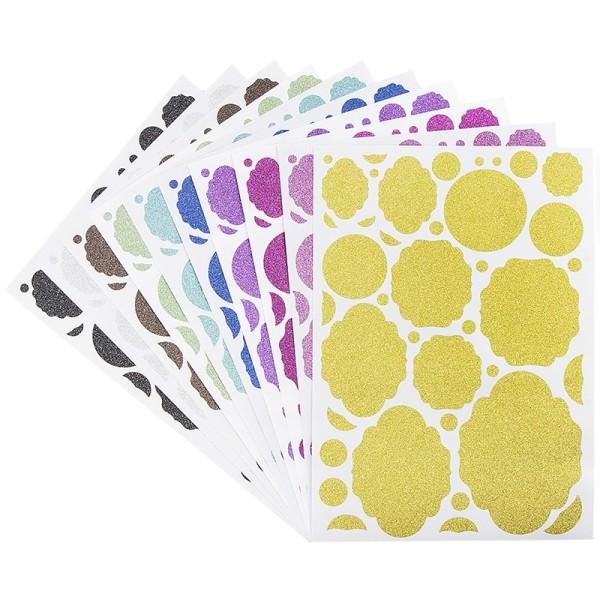 Glitzer-Sticker, Ornamente und Rahmen 4, DIN A4, 10 Farben, 10 Bogen