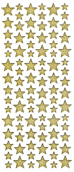 Microglitter-Sticker, Sterne, gold
