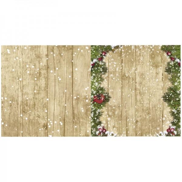 Motiv-Doppelgrußkarte, Weihnachten, 16x16cm, Tannenbordüren 2