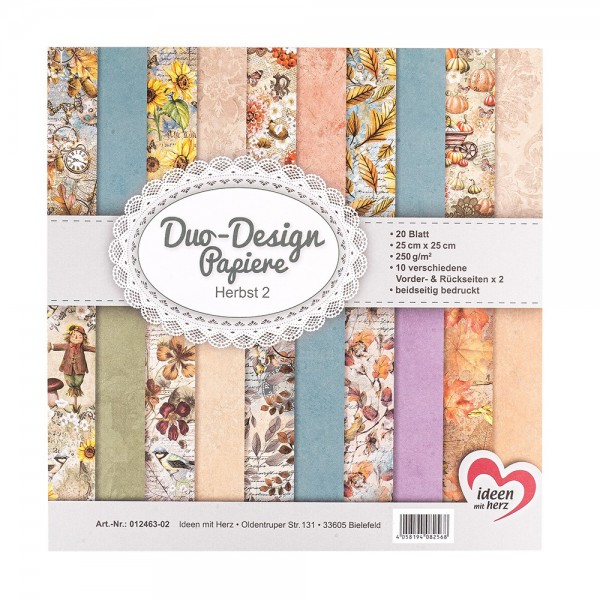 Duo-Design-Papiere, Herbst 2, beidseitig bedruckt, 25cm x 25cm, 250g/m², 20 Blatt