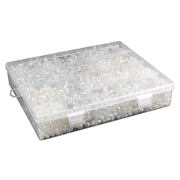 Perlen-Vielfalt in Kunststoff-Box, verschiedene Perlenarten, 500g, klar-irisierend