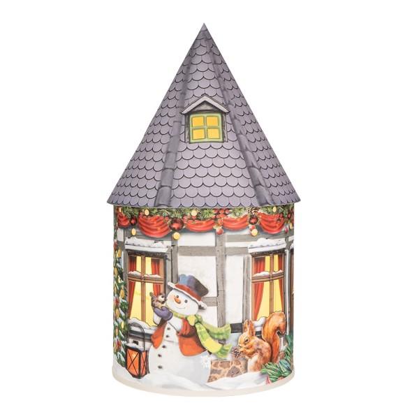LED-Lichthaus, Nostalgische Weihnacht 7, Ø 11cm, 22cm hoch, inkl. Draht-Lichterkette, mit Timer