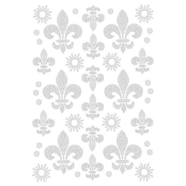 Bügelstrass-Design, DIN A4, klar, Französische Lilien 2