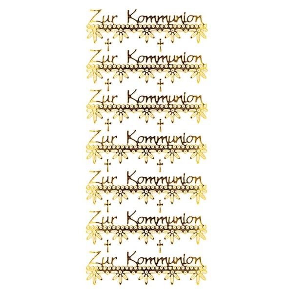 Sticker, Zur Kommunion, Spiegelfolie, gold