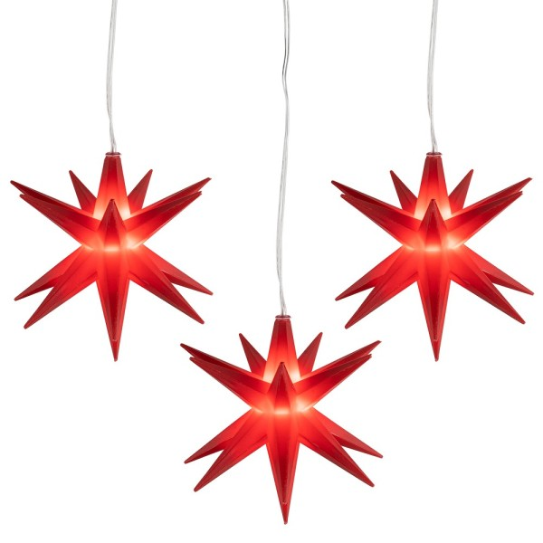 3-D LED-Sterne, Ø 10cm, mit 16 Strahlen, rot, 1 LED-Lämpchen in Warmweiß, inkl. Timer, 3 Stück