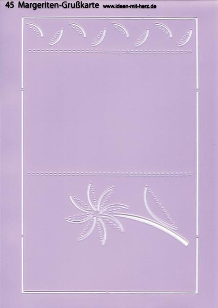 """Design-Schablone Nr. 45 """"Margeriten-Grußkarte"""", DIN A4"""