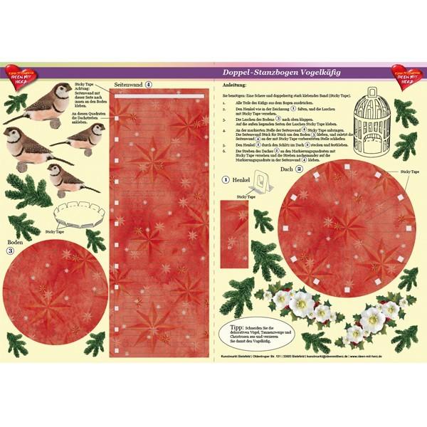 Doppel-Stanzbogen Vogelkäfig, weihnachtlich, DIN A3, rot