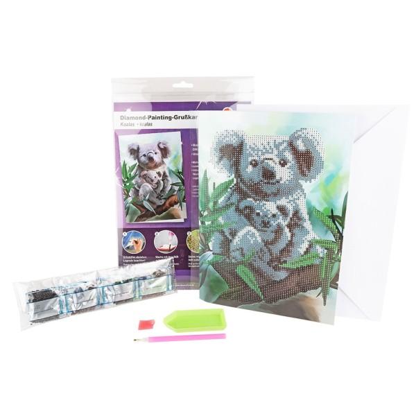 Diamond-Painting-Grußkarte, Koalas, DIN A4, 370g/m², inkl. Umschlag & Werkzeug