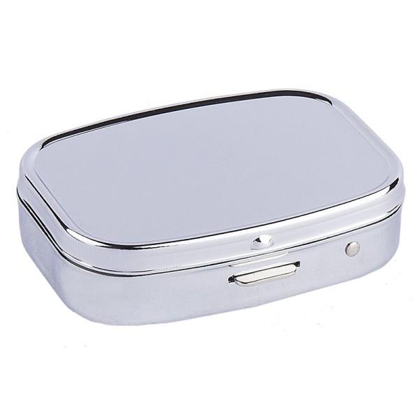 Metall-Pillendose, 5,5cm x 1,5cm x 4cm, silber