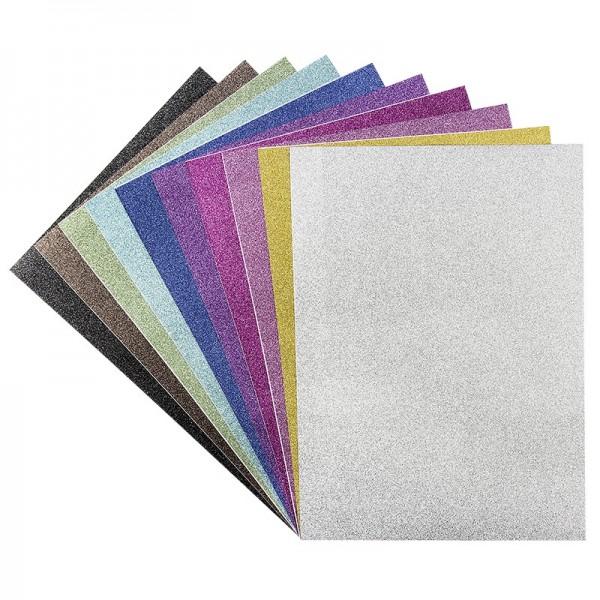 Glitzer-Papier, selbstklebend, DIN A4, 10 Farben, 10 Bogen