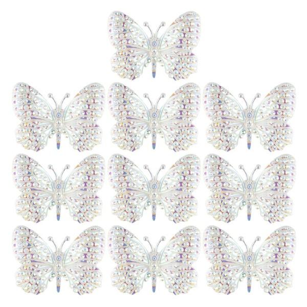 Kristallkunst-Schmucksteine, Schmetterling 1, 2,8cm x 3,7cm, transparent, klar, irisierend, 10 Stück