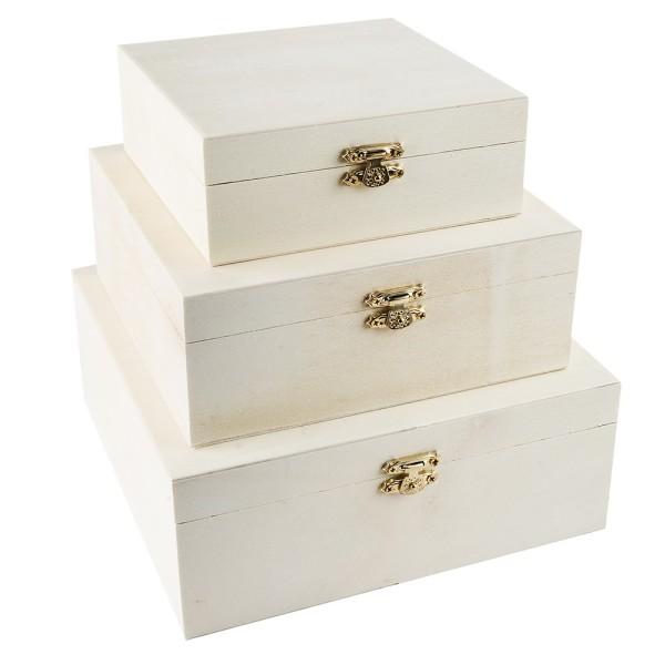 Boxen, Holz, 3 verschiedene Größen, mit Metall-Verschluss, 3 Stück