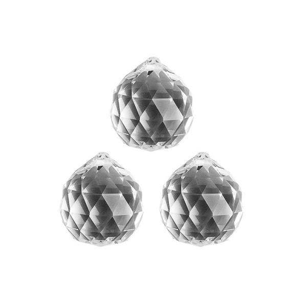 Glaskunst, Briolette Anhänger, Kugel, Ø 3cm, facettiert, klar, 3 Stück