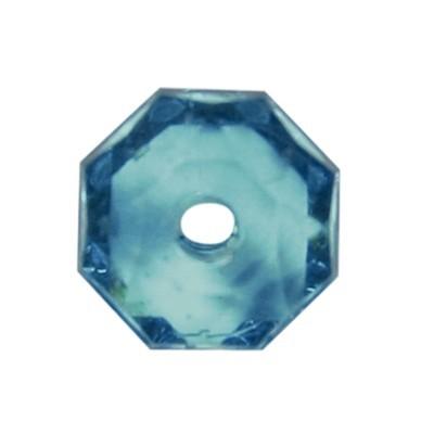 Oktagon-Perlen, transparent, 8,5mm, petrol, 50 Stück