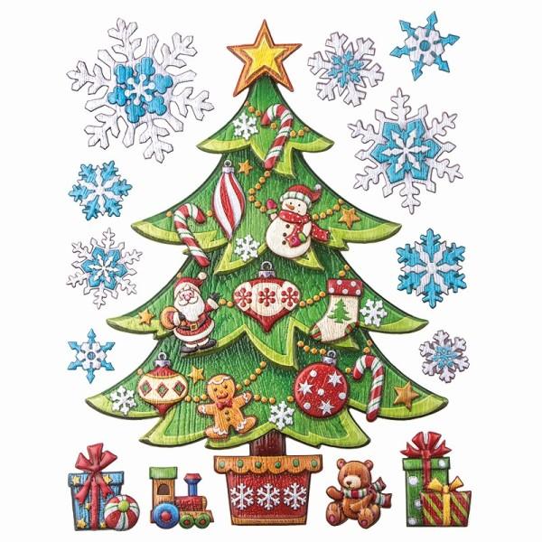 XL Relief-Sticker für die Wand, Weihnachtsbaum, 35 cm x 27,5 cm